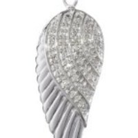 """Sterling Silver and Diamond Angel Wing Pendant Necklace (1/10 cttw, I-J Color, I2-I3 Clarity). 18"""""""