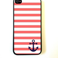 Thinshell Case Coral and White Stripes Blue Anchor Sailor Sea Life for Iphone 5 5s Case
