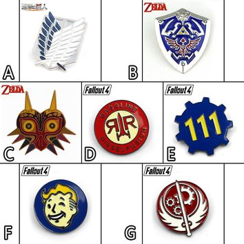Cool Attack on Titan Game /Fallout 4/Zelda Majora's Mask Symbol Metal Badge Pin Brooch Chest Button Ornament Cosplay Collection Gift AT_90_11