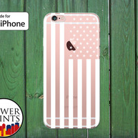 American Flag White Stars Stripes USA White Flag Clear Rubber Phone Case for iPhone 5/5s and 5c and iPhone 6 and 6 Plus + and iPhone 6s