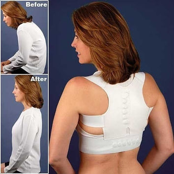 Adjustable Magnetic Posture Support Corrector Back Pain Feel Young Belt Brace for 90-110cm Chest and Waist Unisex = 1929715652