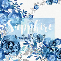 Sapphire | watercolor clipart, blue flowers, indigo clipart, flowers clipart, wreath & bouquets, diy invite digital, indigo floral set
