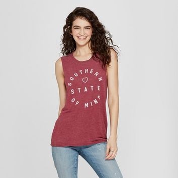 Women's Southern State of Mind Graphic Tank Top - Awake Burgundy