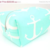 HURRY WEEKEND SALE Mint Nautical Makeup Bag - Make up Bag - Water Resistant Cosmetic Bag