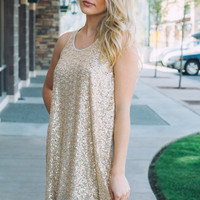 Golden Glory Sequined Shift Dress