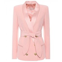 Lion Buttons Lacing Belt Blazer Jacket