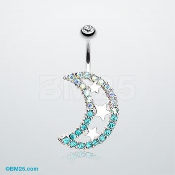 Triple Stars and Moon Belly Button Ring