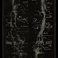 Milky Way with Constellations Antique Celestial Print
