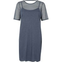Dark grey glitter mesh T-shirt dress - Dresses - Sale - women