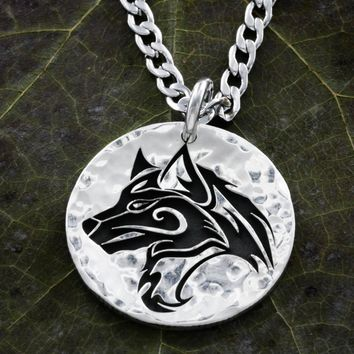 Silver Wolf Necklace, Loyal Pack, Engraved, Hammered Silver Quarter