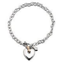 Clogau 9ct Rose Gold And Silver Stone Set Cariad Heart Charm Bracelet