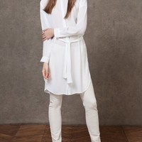 Long shirt with tie belt - SHIRTS - WOMAN | Stradivarius Republic of Ireland