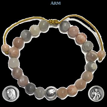 MIRACLE MEDAL | St. Mary | Divine Mercy | Sunstone Adjustable Pull-Tie Bracelet