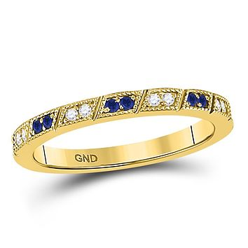 10k Yellow Gold Round Blue Sapphire Diamond Milgrain Stackable Band Ring 1/4 Cttw