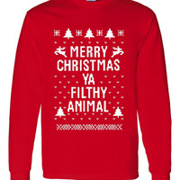 """Great """"Ugly Christmas Sweater"""" Crew Neck """"Merry Christmas Ya Filthy Animal"""" AWESOME XMAS Shirt MUST Have Holiday Shirt Great Shirt Too Red"""