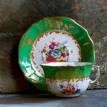 Vintage Hammersley Tea Cup and Saucer - Hand Painted Green Floral - Bone China, England - Cottage Kitchen Decor