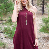 Blaire Suede Dress - Burgundy