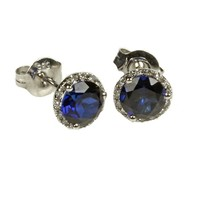 Elements Collection - Elements Collection 14K White Gold Blue Sapphire Diamond Stud Earring