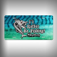 Rather Be Fishing Custom License Plate / Vanity Plate with Custom Text and Graphics Aluminum