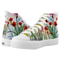 Red Poppies Fun Women Shoe Watercolor Art Printed Shoes