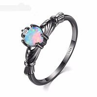Heart Shape Fire Opal Women Wedding Rings