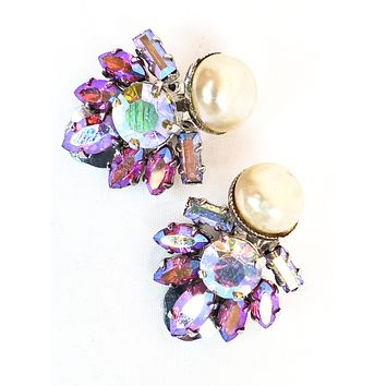Pink Aurora Borealis rainbow and pearl high end rhinestone vintage cluster earrings mid century pin up