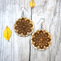 Yoga Earrings - Wood Mandala