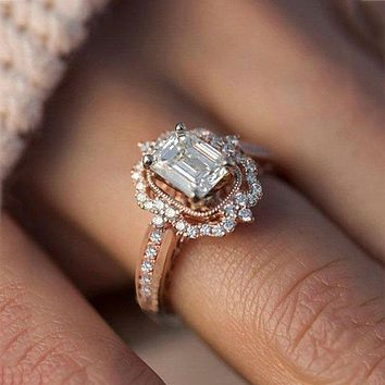 Fashion hot sale new rose gold plated zircon square diamond princess ring engagement female jewelry