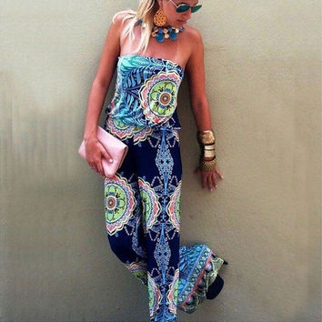 Folk Style Print Long Jumpsuits for Women Fashion Sexy Chinese Casual Bohemian Summer Jumpsuit = 1928482116