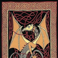 Handmade 100% Cotton Celtic Dragon Tapestry Tablecloth Spread  Twin 70x106 Reds