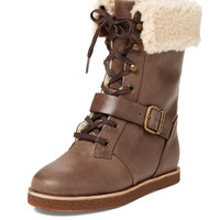 Jovi Leather Lace-Up Tall Boot