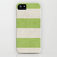 vintage green stripes iPhone & iPod Case by her art