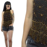vintage 80s silk beaded tank top mock neck GLAM gold floral scalloped shirt deco avant garde flapper small