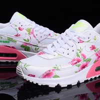 Nike Air Max 90 White Pink Green Flowers Custom Runing Shoes