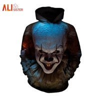 Pennywise 3D Clown Hoodies Sweatshirt Men Women Funny Horror Hoody Tops Pockets Hombre Casual Sportswear Pullovers Tracksuit 3XL