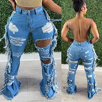 Double Distressed Flare Jeans