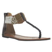 Beaded Cuff T-Strap Sandals   Wet Seal