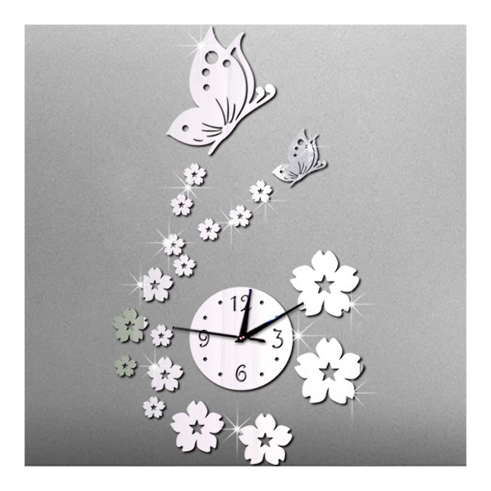 Image of Mirror Wall Clock Living Room 3D Butterfly Flower   silver mirror