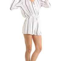 STRIPED LONG SLEEVE WRAP ROMPER - WHITE