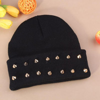 Gothic Punk Industrial Emo Edm Ebm Rave Rock Metal Stud Bullet Autumn Winter Warm Womens & Mens Knitted Beanie Black Cuffed Skully Hat