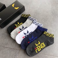 Women Mens FENDI Embroidered Socks with Box