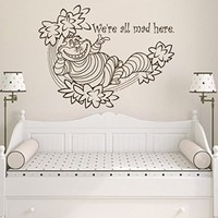 Wall Decals Quote We're All Mad Here Decal Alice In Wonderland Cheshire Cat Tree Leaves Vinyl Sticker Bedroom Nursery Baby Room Home Decor Interior Design Art Mural Ms524