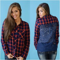 Plaid For Days Top (Red / Blue) - Piace Boutique
