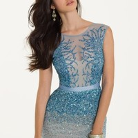 Two Tone Beaded Mesh with Godets