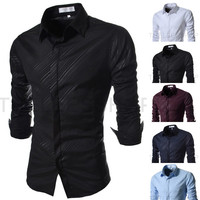 Men Casual Striped Long Sleeve Shirt