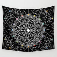 Geometric Circle Black/White/Colour Wall Tapestry by Fimbis