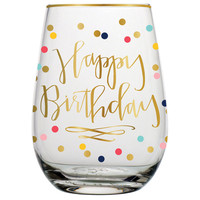 """SLANT COLLECTIONS """"HAPPY BIRTHDAY"""" STEMLESS WINE GLASS"""