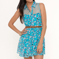 Fire Collared Mesh Inset Dress at PacSun.com