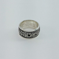 Mens Sterling Silver Ring - Engraved Mens Ring - Star Galaxy Mens Ring Size 11 - Night Sky Ring - Thick Sterling Band Ring