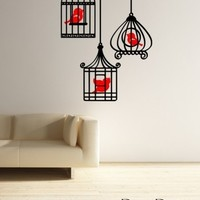 Three Birds in Bird Cages Wall Decal